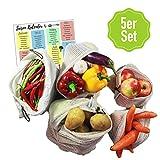 EcoYou Premium Obst- & Gemüsebeutel mit Gewichtsangabe 5er Set Baumwolle I inkl. Brotbeutel & Saisonkalender I Wiederverwendbare Baumwollbeutel & Einkaufsnetze in Verschiedenen Größen Familienpackung