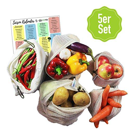 EcoYou Premium Obst- & Gemüsebeutel mit Gewichtsangabe 5er Set Baumwolle I inkl. Brotbeutel & Saisonkalender I Wiederverwendbare Baumwollbeutel & Einkaufsnetze in verschiedenen Größen Familienpackung - Obst Home Decor