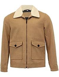hommes mélange laine veste Threadbare VOLANT aviateur manteau polaire sherpa col doublé