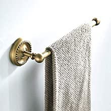 BigBig Home Wall Mounted Towel Ring Holder Antique Brass with Carving Decoration, Vintage and Simple Style Towel Rail for Bathroom