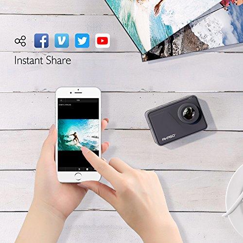 AKASO Cámara Deportiva Nativo 4K/30fps 20MP WiFi Cámara de Acción con Pantalla táctil Cámara Sumergible Acuática 30M 170° Gran Angular Control Remoto EIS 2 Baterías Multi Accesorios (V50 Pro)
