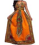 CuteRose Women's African Dashiki Floral Backless Halter Long Maxi Dresses Orange S