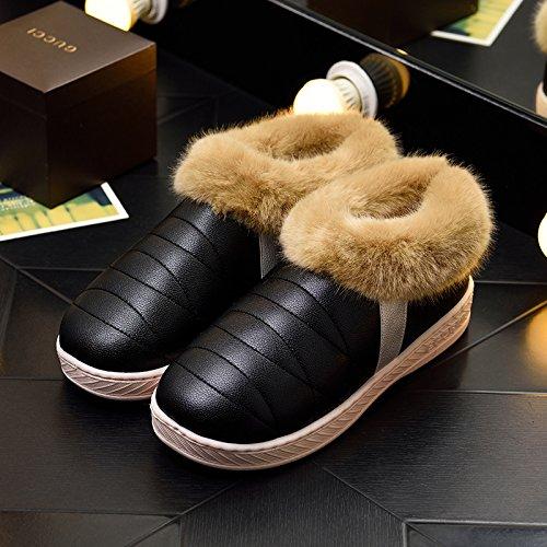 DogHaccd pantofole,Inverno pelle pu di spessore, antiscivolo soggiorno impermeabile home scarpe di cotone uomini e donne paio di pantofole di cotone confezione con scarpe di peluche Nero2