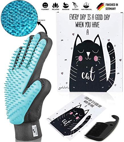 JETZT NEU - GOLDSTA® Premium Bürsten Handschuh-Set für Katzen I Das Haar Wunder 2.0 (Extrem Effektiv) + Kamm, Geschenkkarte & Verpackung  Fell-Pflege & Möbel Massage Innovative Grooming Bürste  -