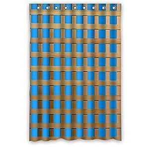 """DOUBEE Holz Trellis Wasserdichtes Duschvorhänge Shower Curtain 48 """"x 72"""",120cm x 183cm Mit Haken"""