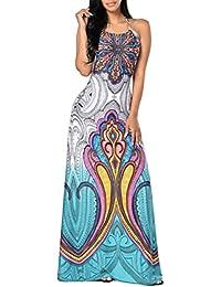 Vestidos de Fiesta Largos Vestido de la Playa Bohemia Halter Escotado por Detrás Atractivo Elegante y Encantador