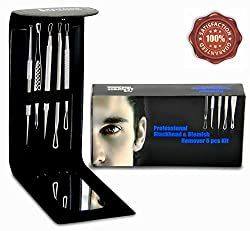 Professional Blackhead and Blemish Remover Kit. 5pcs Blackheads Extractor, Comedone Extractors Blemish Tools and Case with Mirror.