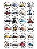24décorations en papier comestible Cars 3 pour cupcake