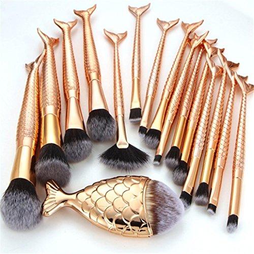 ESAILQ Ensemble de brosses de maquillage 16 Pièces Pinceaux Maquillage Brosse à maquillage en forme de sirène 3D Brosses à cosmétiques Ombre à paupières Eyeliner Blush Brushes (Gold)