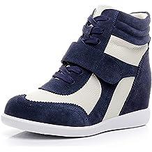 rismart Donna Zeppa in Cima Cuneo Lavoro Informale Lacci Fibbia Sneaker  Scarpe 511a7cdf399