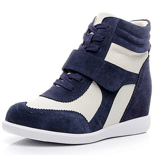 Rismart donna tacco a zeppa hook&loop brogue alto cima confortevole elegante sneaker scarpe sn8599(marina&beige,eu35)