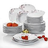 Veweet Tafelservice 'Annie' aus Porzellan 36 Teilig | Tellerset für 12 Personen | mit je 12 Dessertteller, Tiefteller und Flachteller