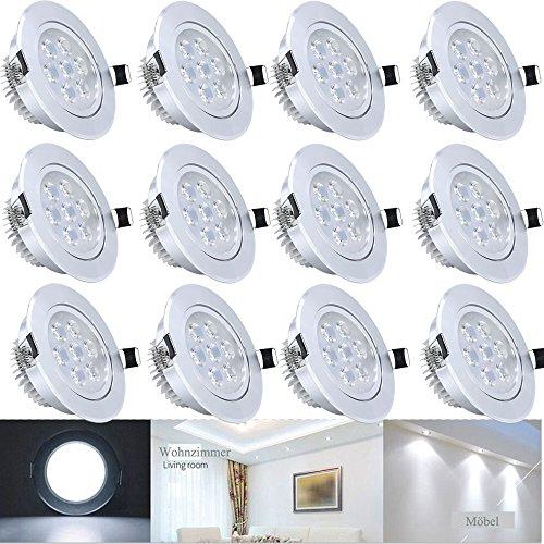 Hengda® 12er 7W LED Spot Einbauleuchte Kaltweiß Einbau Strahler Set Decken Lampe
