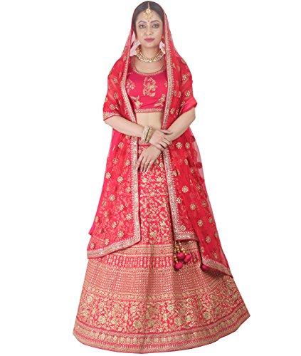 Indian Ethnicwear Bollywood Pakistani Wedding Red A-Line Lehenga Semi-stitched-DIVISL049