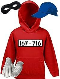 Gangster Kinder Kapuzenpullover Kostüm Set für Panzerknacker Fans Karneval Kids Hoodie+Cap+Handschuhe+Maske