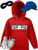 Gangster Kostüm Set für Panzerknacker Fans JGA Kinder Hoodie+Cap+Handschuhe+Maske, Größe: 152,Rot