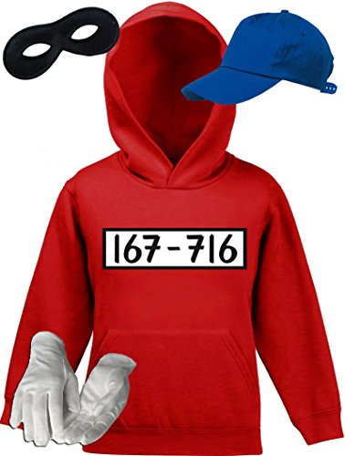 Kostüm Stunde Letzte - Shirtstreet24 Gangster Kostüm Set für Panzerknacker Fans JGA Kinder Hoodie+Cap+Handschuhe+Maske, Größe: 140,Rot
