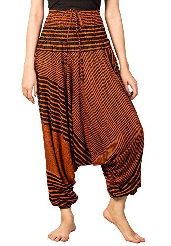 Lofbaz Damen Streifen Gedruckt Smocked Taille Harem 2 in 1 Overall Hose Orange XL (Orange-streifen - Leichte)