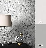 NEWROOM Blumentapete Tapete Beige Zweige Vliestapete Silber Vlies moderne Design Optik Äste inkl. Tapezier Ratgeber
