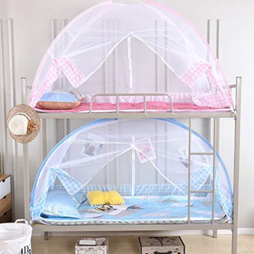 XGYUII Moskitonetz-Betthimmel-Zelt-faltbares Studenten-Schlafsaal-Abwehrmittel-Insekt knallen Oben für das Bett-kampierende Reise-Haus im Freien,Blue,0.9 * 1.9m