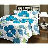 Cloud Mart Beautiful Blue Floral Design Reversible Double Bed Quilt/AC Blanket