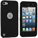 Black Deluxe Hybrid Premium Rugged Hard Soft Case Skin Cover for Apple iPod Touch 5th Generation 5G 5