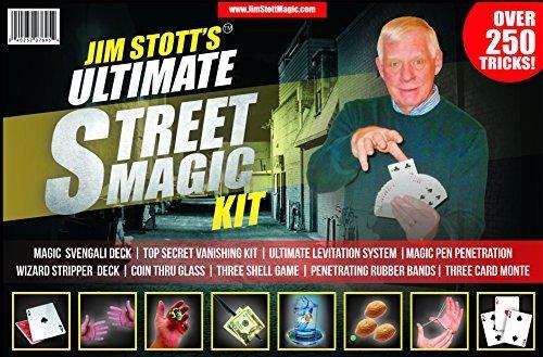 Jim Stott Magic Ultimative Street Magic Kit, Set Zaubertricks für Erwachsene, Svengali Card Deck, The Ultimate Levitation-System, geheime Fluchtgerät, Eindringende Gummibänder