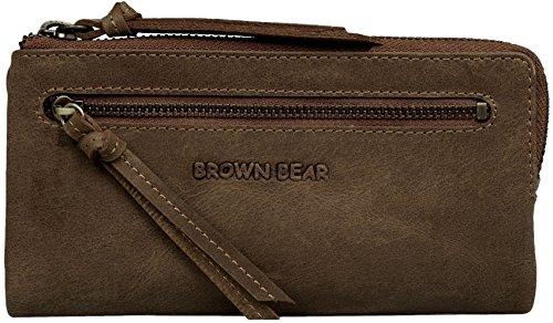 Brown Bear Damen Geldbörse Leder Braun Vintage hochwertig Frauen Geldbeutel Portemonnaie Portmonee Portmonaise