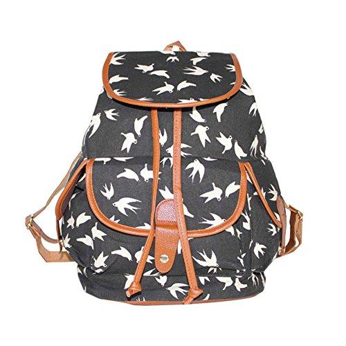 Damen Mädchen Casual Vintage Canvas Haltbare Segeltuch Taschen Reisetaschen Sporttaschen Schultaschen Rucksack Blau Fuchs Schwarz