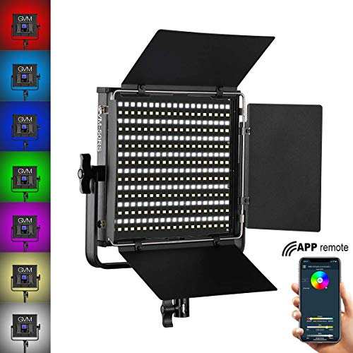 GVM RGB LED Videoleuchte mit APP Control, CRI97+ Dimmbares 3200K-5600K LED Video Kamera Licht with Barndoor für Studio YouTube Interview Fotografie Video Beleuchtung