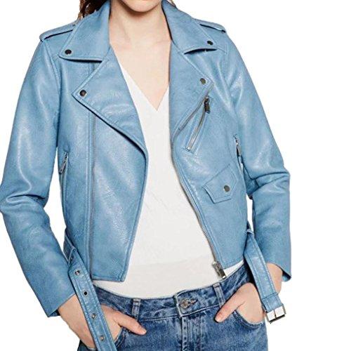 Damen Kunstleder Jacke Motorradjacke Ladies Oberbekleidung Outwear Mode Rennen Stil Biker Jacke (S, (Rennen Kostüme)