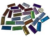 CRYSTAL KING 27 Stück 40mm x 15mm große Selbstklebende glitzernde Bunte Acryl Steinchen Mosaik Bunte Mischung Deko Strass Steine zum Bekleben Strasssteine