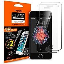 Spigen SGP10111 - Protector de pantalla de vidrio templado para Apple iPhone 5/5S/5C/SE, Pack de 2