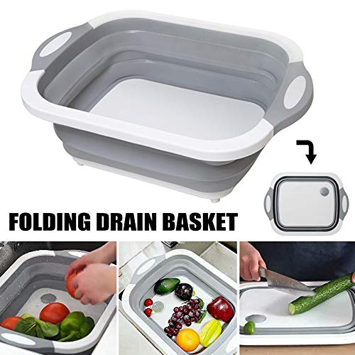 Dastrues Multifunction Collapsible Cutting Board Drain Basket Vegetable Basin Portable Tub - Folding Cutting Board