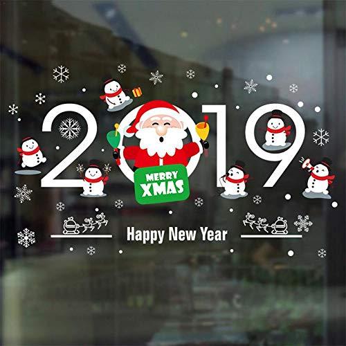 LETAMG Wandtattoos Wohnkultur Weihnachten Fenster Aufkleber Selbstklebende Hängende Schneemann Weihnachtskugeln Baum Kranz Weihnachtsmann Anhänger Neues Jahr