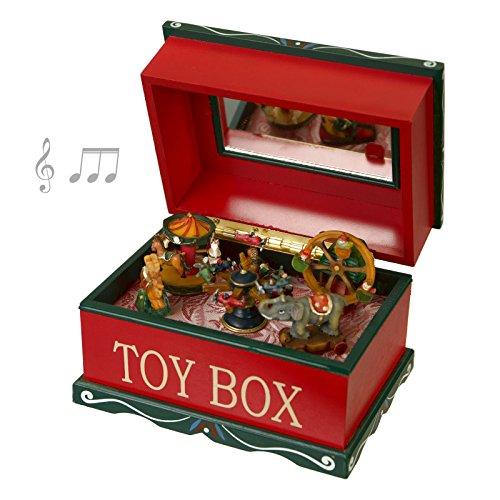 Scatola in legno decorato Toy Box, applicazione fiore in argento 925%°, interno giochi in movimento (Fiore Scatola Del Movimento)