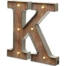 Holz-Metall Buchstabe beleuchtet, warmweißes LED Licht