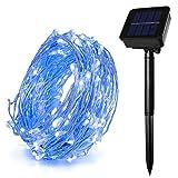 HEEPOW verbesserte 100led solarbetriebene Fairy Sternenlichter mit 39ft / 12m 3-Strang Kupferdraht, 8 Modi wasserdichte Lichterketten für Garten, Outdoor/Indoor (Blau)