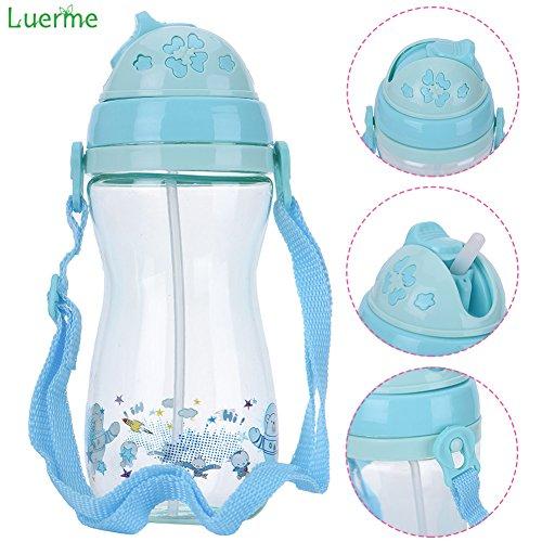 che, Luerme Kinder Strohhalm Wasserflasche Niedlich Trinklernflasche Trinklernbecher mit Hängend Gurt für Outdoor (Niedliche Baby-flaschen)