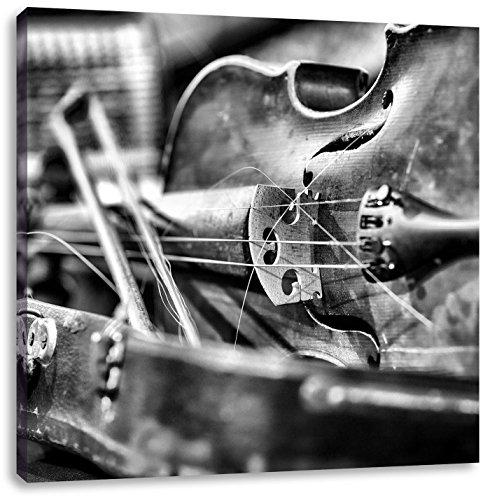 Monocrome, Alte Violine, Format: 70x70 auf Leinwand, XXL riesige Bilder fertig gerahmt mit Keilrahmen, Kunstdruck auf Wandbild mit Rahmen, günstiger als Gemälde oder Ölbild, kein Poster oder Plakat