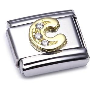 Nomination Comp. Classic BUCHST. Edelstahl, 18K-Gold und Cubic Zirc. (C) 030301