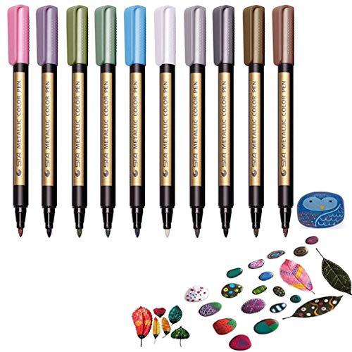 Metallic Marker Pens, Funnasting 10 Farben Metallischen Stifte Maker Metallic Stifte für...