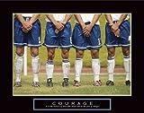 Motivational Poster Courage Discount Fußball Poster, inspirierendes Fútbol Kunstdruck-Poster, Druck, Poster, 28 x 22 cm, 28 x 22 cm, Hochwertiger Kunstdruck-Poster, 28 x 22