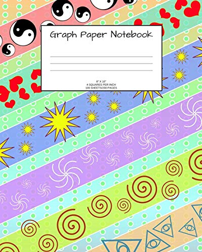 Graph Paper Notebook: Fun pattern; 4 squares per inch; 100 sheets/200 pages; 8