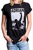 Cooles Damen T-Shirt mit Aufdruck Kurzarm - Rocky - Rundhals Top Übergröße locker & lässig geschnitten schwarz M