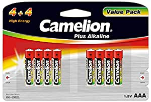 Camelion 11044803 Pack de 8 Piles Alkaline Plus LR03 AAA Micro