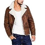 Herren Lederjacke Vintage Dicke und Warme Kunstlederjacke mit Pelzkragen Slim Fit Braune Freizeit Jacke Winter Modern (XL, Khaki)