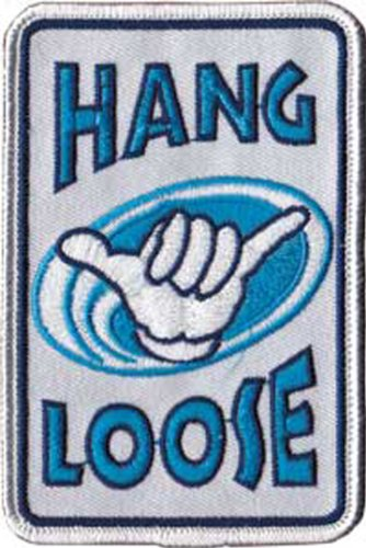 SURFING HANG LOOSE, Officially Licensed, Iron-On / Sew-On, Embroidered PATCH (Betsy Ross Hat)