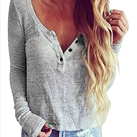 Reaso Femmes Blouse Col V Casual Chemisier Manche longue Tricoter Shirt Solid Coton T-shirt Chic Tops Loose Pull Pullover (S, Gris)