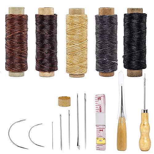 ISIYINER Leder Handwerk Werkzeug Hand Nähen Nadeln Polsterung Leder Segeltuch DIY Nähzubehör mit 5 Stück 50m 150D Leder Nähen Wachsfaden 16 Stück